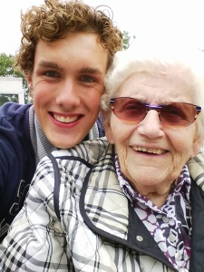 Taking my 84 year old grandma for a walk and a selfie.